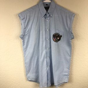 Russell Collection Blue Biker Button Down 37/38